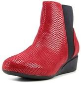 J. Renee Kareenatoo Women Round Toe Canvas Burgundy Ankle Boot.