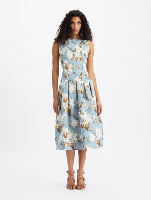 Oscar de la Renta Iris and Daisy Vine Sleeveless Midi Dress