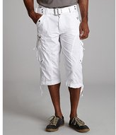 Green Cotton X-RAY Jeans white cotton 'Paper Touch' belted cargo shorts