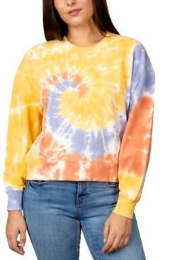 Rebellious One Juniors' Printed Tie-Dye Sweatshirt