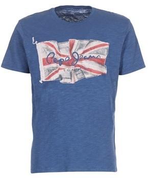 Pepe Jeans FLAG LOGO men's T shirt in Blue