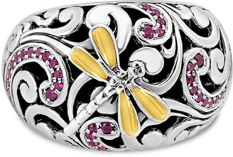 Devata 18K Gold Accented Sterling Silver Sweet Dragonfly CZ Ring