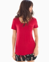 Soma Intimates Short Sleeve Pajama Tee with Pocket Ruby