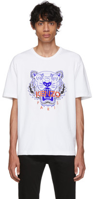 Kenzo White Limited Edition Embroidered Tiger T-Shirt