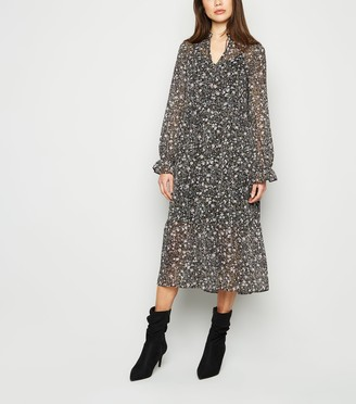 New Look Floral Long Sleeve Midi Smock Dress