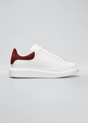 Alexander McQueen Men's Leather Chunky Sneakers w/ Croc-Embossed Trim