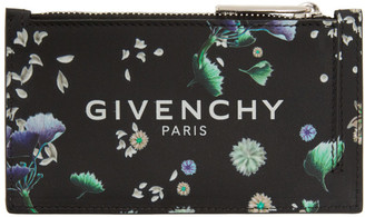 Givenchy Black Leather Flowers Card Holder