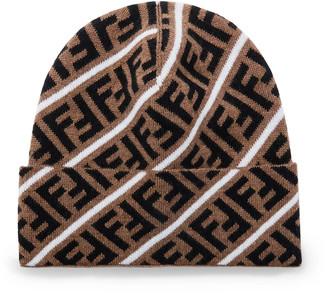 Fendi Logo-Jacquard Virgin Wool Beanie