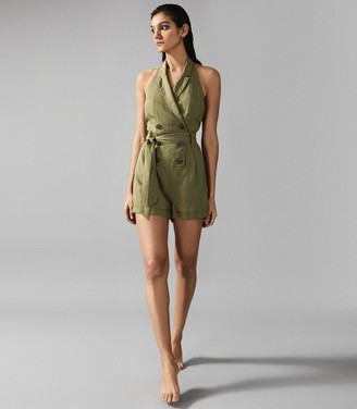 Reiss Merritt - Linen Blend Halterneck Playsuit in Olive