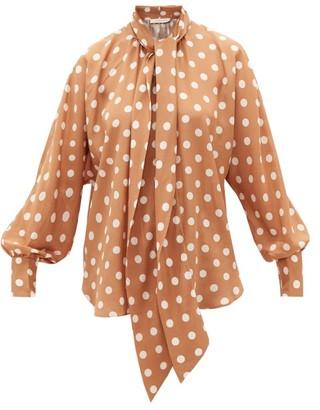 Zimmermann Polka-dot Silk Crepe-de-chine Blouse - Womens - Brown Print