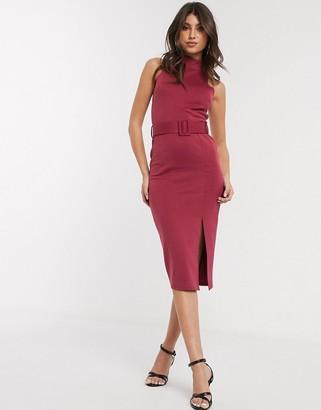 ASOS DESIGN high neck open back belted midi dress