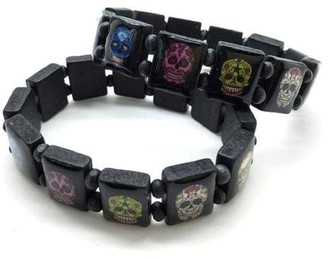 B2 Black Wood Sugar Candy Skull Elasticated Bracelet