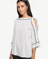 Ann Taylor Striped Slit Sleeve Popover