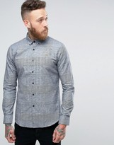 Farah Slim Buttondown Check Shirt In Black