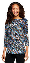 George Simonton 3/4 Sleeve Printed Top with Paillette Detail