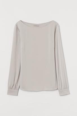 H&M Satin Boat-necked Blouse - Brown