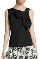 Carolina Herrera Asymmetrical Bow Cotton Blouse