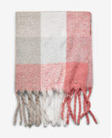 Express brushed plaid fringe blanket scarf