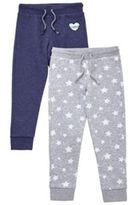F&F 2 Pack of Star Print and Sequin Badge Joggers, Girl's