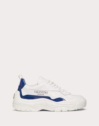 Valentino Gumboy Sneaker In Calfskin And Patent-leather Women White/blue 100% Poliammide 35
