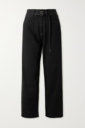 Acne Studios Belted High-rise Wide-leg Jeans - Black