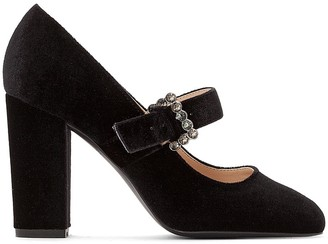 La Redoute Collections Velvet Heels with Pretty Buckle