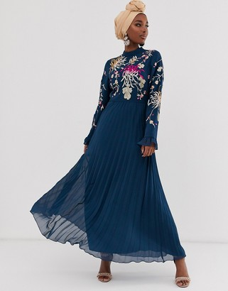 ASOS DESIGN embroidered pleated maxi dress with fluted sleeve in navy