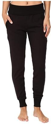 Beyond Yoga Fleece Fold-Over Sweatpants (Black) Women's Workout