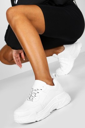 boohoo Contrast Lace Chunky Platform Sneakers