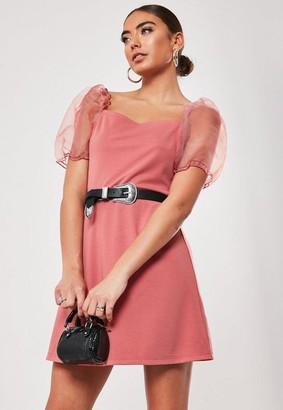 Missguided Blush Organza Puff Sleeve Skater Dress