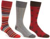 Roundtree & Yorke Gold Label Big & Tall Striped Comb Crew Dress Socks 3-Pack