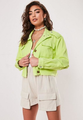 Missguided Neon Lime Cropped Utility Jacket