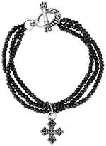 King Baby Studio Women's 3 Strand Black Spinel with Small Black Cubic zirconia MB Cross 925 Sterling Silver Bracelet of 19.05 cm