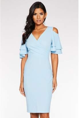 Quiz Pale Blue Wrap Front Cold Shoulder Dress