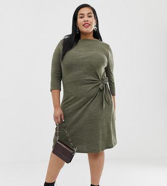 Junarose tie waist detail dress in khaki-Green