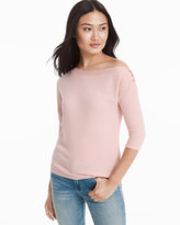 White House Black Market Slouchy Three-Quarter Dolman Sleeve Ribbed Top