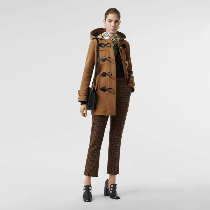 Burberry Wool Blend Duffle Coat , Size: 06, Brown