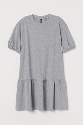 H&M Puff-sleeved Jersey Dress - Gray