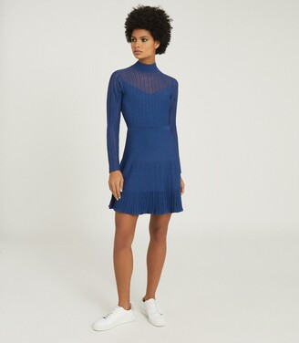Reiss Clemmy - Sheer Stripe Knitted Dress in Blue
