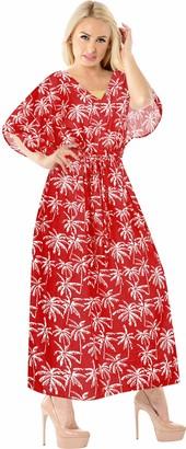 LA LEELA Boho Women Printed Kaftan Tunic Kimono Free Size Long Maxi Party Dress Loungewear Holidays Nightwear Beach Everyday Cover UP Top Blood Red_Y179