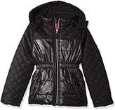 Pink Platinum Girls' Quilted Puffer Jacket Mixed With Spray Foil