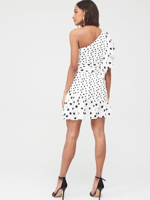 Very One Shoulder Printed Spot Flippy Dress - Multi