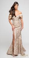 Terani Couture Off the Shoulder Metallic Fur Evening Dress