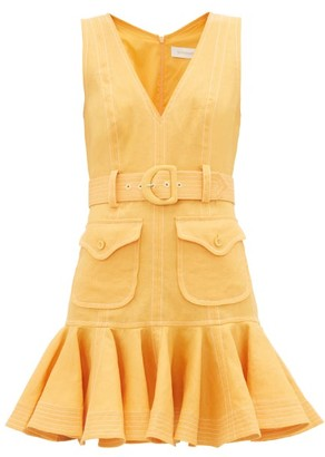 Zimmermann Super Eight Safari Flounced-hem Linen-poplin Dress - Womens - Orange