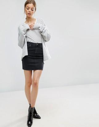 ASOS DESIGN denim original high waisted skirt in washed black
