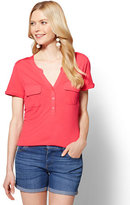 New York & Co. Lace-Inset Henley Top