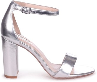 Linzi Nelly Silver Metallic Single Sole Block Heels