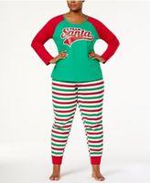 Family Pajamas Women's Plus Size Team Santa Pajama Set, Created for Macy's