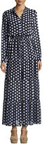 MICHAEL Michael Kors Lottie Long-Sleeve Polka-Dot Tiered Maxi Dress, Black