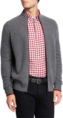 Neiman Marcus Men's Contrast-Trim Zip-Front Cardigan Sweater